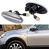 [1 Paar] OZ-LAMPE LED Seitenmarkierungs blinker, Fahrtrichtungsanzeiger für Nissa-n Cube Juke Leaf Micra K12/K13 Note E11 Qashqai J10 X-trail T31 (Transparente Linse)