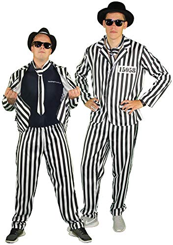 Foxxeo Gefangener Kostüm für Herren mit Anzug und Krawatte - Größe S bis XXL - für Fasching Karneval, - Herren Gefangener Kostüm