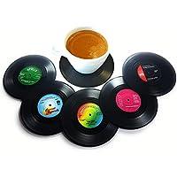 BlueBeach® 6 Piezas Posavasos Retro CD Record Vinyl Mat Tabla Mantel Coaster Copa Sostenedor para Bebidas / Café / Té