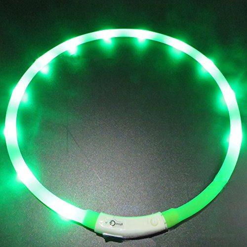 LaiXin LED Hundehalsband Leuchtend Silikon Aufladbar Wasserdichte Halsbänder Verstellbar mit USB-Kable, Reflektierend Dog Collar für Groß Hund, 70cm, Grün