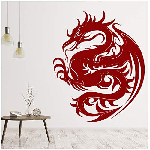 azutura Dragon Design Vinilos Fantasía Pegatina Decorativos Pared Chicos Dormitorio Decoración disponible en 5 tamaños y 25 colores Extra pequeño Negro