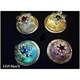 ShopKooky LED Flower Round Special Diya (Pack Of 6) | Specially Designed For Navratri Diwali Lighting Festivals And Many Happy Occasions | Best For Gifting Purpose And Most Suitable For Night Decorations | Designer Attractive And Stylish | Return Gift | G