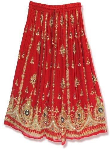 25cafd56af5 Yoga Trendz de la Mujer Lentejuelas Crinkle Bruja Gypsy Falda Larga -  Blanco -