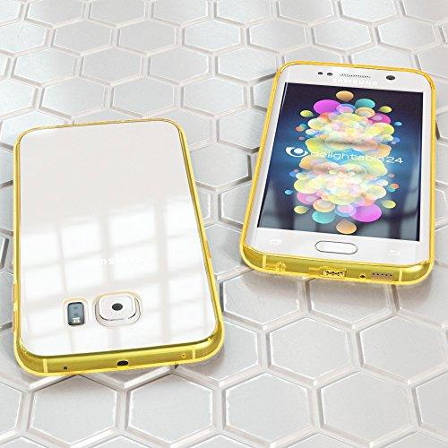 Samsung Galaxy S6 Edge Hülle Handyhülle von NICA, Durchsichtiges Slim Silikon Case Transparente Rückseite & Bumper, Crystal Schutzhülle Cover Etui Dünn, Handy-Tasche Backcover - Transparent / Türkis Transparent / Gelb