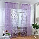 Prevently Schlafzimmer-Gardinen,Gardine Fenstervorhänge Floral Schal Sheer Voile Tür Fenstervorhang drapieren Panel Tüll Volants Divider,100 x 200 cm (Lila)