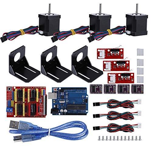 Hakeeta Kit modulo Stampante 3D Professionale CNC, Scheda Scudo CNC, Motore Passo-Passo Nema 17, Motore Passo-Passo per Kit Kuman Uno R3 Arduino CNC Fai da Te