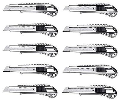 10 Profi Alu Cuttermesser – 18 mm – Metallführung/Cutter-Messer/Teppichmesser / Abbrechmesser/Universal-Messer von TD-Warenhandel auf TapetenShop