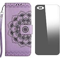 Conber Funda iPhone, Funda de Cuero con [Protector de Pantalla Gratis], Shock Absorción y Función de Kickstand Serie La Flor