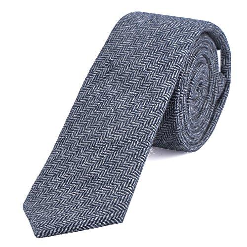 DonDon Herren Krawatte 6 cm Baumwolle weiß-blau Fischgrätenmuster