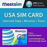 MOSTSIM - AT&T USA SIM-Karte 7 Tage, 6GB Highspeed-Datenvolumen/unbegrenzteAnrufe/Textnachrichten, AT&T-Netzwerk für die USA