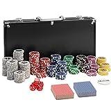 TecTake Set da Poker con fiches laser chips e valigetta da alluminio | incl. 5 dadi + 2 mazzi di carte + 1 bottone del mazziere | -modelli differenti- (300 pezzi | nero | no. 402558)