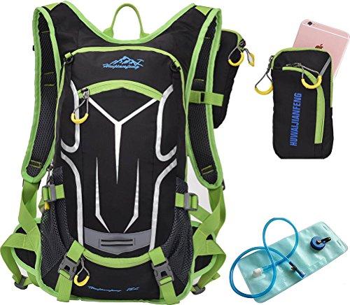 besporter Radfahren Wandern Klettern Wasserdichter Rucksack Hydration Rucksack 18L + 2L Wasser Blase Grün