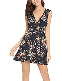0ca679c709 HaiDean Mini Vestido Mujer Fashion Elegante Floreadas Vestidos De Verano  Modernas Casual Sin Mangas V Cuello