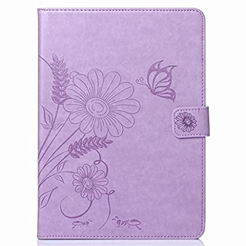 Yiizy(TM) Samsung Galaxy Tab 4 10.1 / T530 Case, Flower Style Premium Leather Slim Fit Standing Protective Cover Credit Card Slots Pockets Magnetic Strap Wallet Pouch Flip Cover Case (Violet Clair)