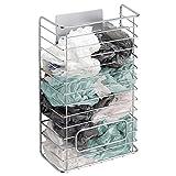 mDesign AFFIXX Plastiktüten Aufbewahrung – selbstklebende Halterung für Plastiktüten – praktischer Aufbewahrungskorb für Plastiktüten, Gefrierbeutel, etc. – Metall