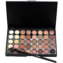 Naisicatar Cosmetic - Paleta de maquillaje para sombra de ojos, 40 colores + juego de brochas + cepillo inferior de cola de pez (A)