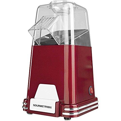 Gourmet Maxx Popcorn-Maschine 1100W in Design Retro Nostalgie (Zubereitung von Luftzirkulation Warm-ohne Öl, Extra Schnell in nur 2-4Minuten, wählbar Süßes oder Salziges Popcorn)