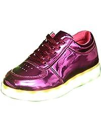 020f360cc70a Gaorui Unisex Jungen Mädchen LED Schuhe mit USB PU Leder Sportschuhe  Sneakers Rosa Weiß B01CFVDEHC