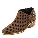 FeiBeauty Frühling Damen Hohl wies Toe Schuhe Reine Farbe Booties Schnalle Strap Square Heel einzelne Schuhe Atmungsaktiver Komfor Schwarz Brown Grau(35-43)