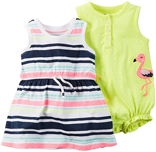 Carter's Babykleid + Spieler Sommer Mädchen 2 Stück Kleid girl dress Mädchen (80/86, gelb/weiss) (2 Carters Stück)