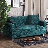 SANDM Elastizität Anti-rutsch Sofabezug mit kissenhüllen, Plüsch Möbel Protector Sofa-Überwürfe Sofabezug Hund Vintage Leder Sofa abdecken-Grün Loveseats