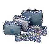 Shopper Joy Reisegepäck Organizer Taschen Kofferorganizer 6-er Sets - Blaue Blümchen