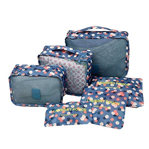 Shopper Joy 6 Unidades Organizadores para Maleta Cubos de Embalaje Bolsas de Equipaje para Viaje Vacaciones - Flores azules