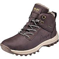 Rioneo Hombre Botas de Nieve Senderismo Impermeables Deportes Trekking Zapatos Forro Piel Sneakers Negro Marrón Khaki 39-46