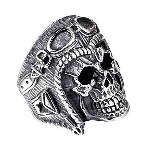LAVYINGY Anillo de Acero Inoxidable para Hombre,clásico,gótico,Motero y cráneo,Tamaño 17