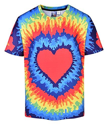 Herz Tie-dye-t-shirt (XiYang Unisex Slim Fit 3D Druck T-Shirt - Kurzarm für 2018 Sommer Regenbogen Herz mit Tie Dye Batikmuster Y1824-31-L)