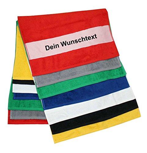 S.B.J - Sportland Duschtuch mit Namen Oder Wunschtext Bedruckt, Farbe Schwarz 70x140 cm