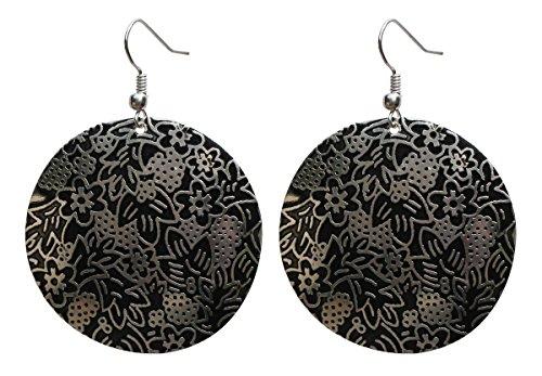 SouvNear set di orecchini e pendenti rotondi per donne e ragazze-Antico look- Botanica Fiori Nero e Argento-Gioielli Donna