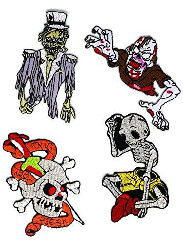 (Set 4Fantasy Zombie Ghost Halloween Totenkopf Gummibänder Cartoon Kids bestickt Nähen Eisen auf Patch Cartoon Nähen Eisen auf bestickte Applikation Craft handgefertigt Baby Kid Girl Frauen Tücher DIY Kostüm Zubehör)