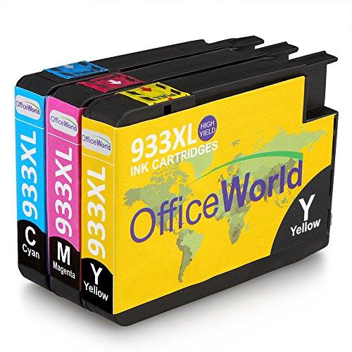 OfficeWorld Ersatz für HP 933 Patronen 933XL Druckerfarbe Hohe Kapazität Kompatibel für HP Officejet 6100 6600 6700 7110 7610 7612 [Bitte beachten Sie 7510 7512 kann nicht verwendet werden] (Patronen Hp 933 932xl Tinte)