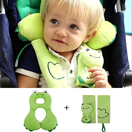 Baby-Kopf-Unterstützung mit Bügel-Abdeckungen - Soft Kopfstütze Nackenstütze und Sicherheitsgurt-Bügel-Abdeckung für 1-4 Jahre alt Kleinkinder - Bequeme Auto-Sitzkissen & Sicherheitsgurt-Abdeckung bestes Geschenk für Kind- Grün (Kurve-design-lösungen)