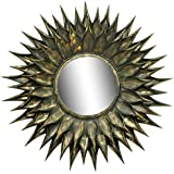 "Quality Glass Sunflower Black & Light Gold Antique Finish Decorative Round Wall Mirror 32""x32""MFM 147"
