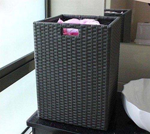 GMM® schmutzigen Kleidung Korb Wäschekorb Gewebe Hand PE Rattan Druckleistung Finish Waschküche Kleidung Spielzeug Lebensmittel Collection Cart S