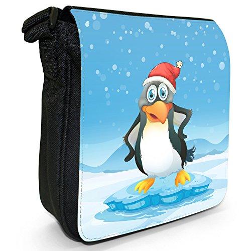 Joyful Christmas Time nella neve piccolo nero Tela Borsa a tracolla, taglia S Cheery Penguin In Santa Hat