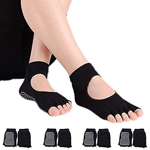 4 Paar Halbe Zehen Damen Rutschfeste Socken mit Baumwolle Atmungsaktivität ideal für Yoga Pilates Tanz Fitness (Schwarz)