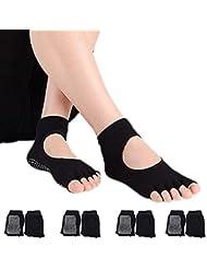 Hubanbei–4pares de calcetines antideslizantes sin dedos para mujer, de algodón, transpirabilidad Ideal para yoga, pilates, danza y fitness, negro
