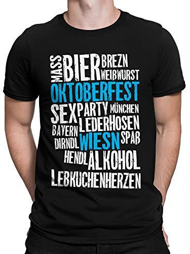 vanVerden Herren Fun T-Shirt Oktoberfest to Do List Bayern München Party Feier Flagge Plus Geschenkkarte, Größe:Large, Farbe:Schwarz/Blau