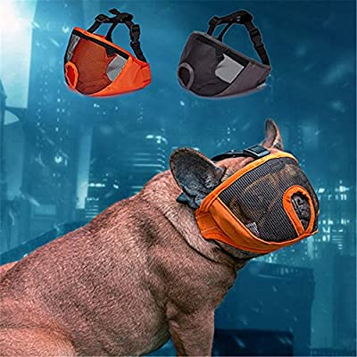 JYHY Short Snout Dog Muzzle- Adjustable Breathable Mesh Bulldog Muzzle for Biting Chewing Barking Training Dog Mask by JYHY