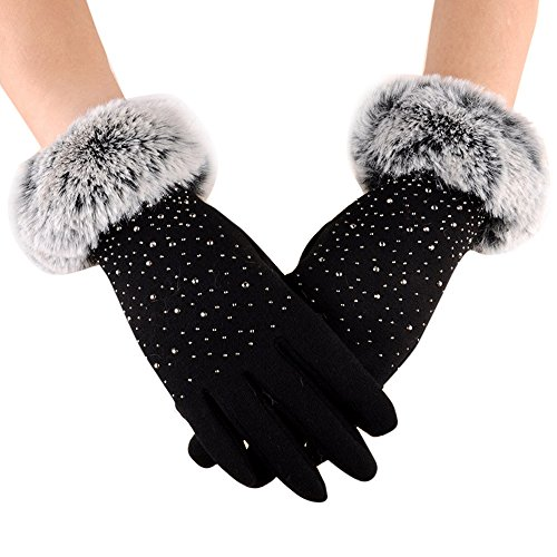Lonshell Damen Elegant Plüsch Fingerhandschuhe mit Strass Touchscreen Handschuhe Warme Fleecefutter Fäustlinge Ski Sporthandschuhe Winddicht Winterhandschuhe (Schwarz) - Strass Damen Handschuh