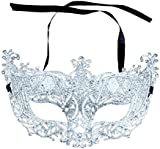 Topmei Venetian Masquerade Women Mask Costume Party Face Mask Silver