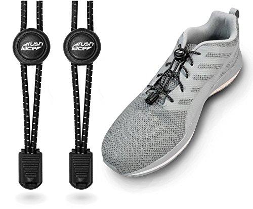 Rush Lace - Elastische Schnürsenkel mit Schnellverschluss aus Gummi - für Erwachsene, Kinder, Senioren geeignet, Sport, Triathlon, ohne Schuhe binden! (Schwarz, 1 Paar)