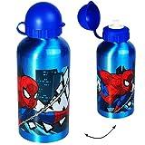 """Trinkflasche / Sportflasche - """" ultimative Spider-Man """" - Alutrinkflasche - 500 ml - aus Aluminium - für Kinder - Aluflasche 0,5 Liter / auslaufsicher - Flasche Jungen / Fahrradflasche - Wasserflasche - Alu - Kindertrinkflasche - Spiderman / the Amazing - Comic Held Figur Spinne - Trinklernflasche - Kindergarten / Schule - Kita"""