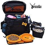 Arcadian Hundetasche für Haustiere, praktische und kompakte Tasche mit Mehreren Fächern, gefütterte Futter-Tragetaschen und faltbaren Näpfen. Premiumqualität.