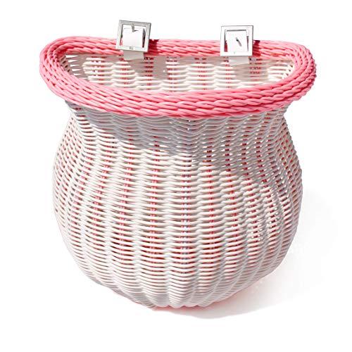 colorbasket Fahrradkorb für Erwachsene, wasserabweisend, mit Lederriemen, Unisex-Erwachsene, Adult Front Handlebar Bike Basket, rosa/weiß, White/Pink -