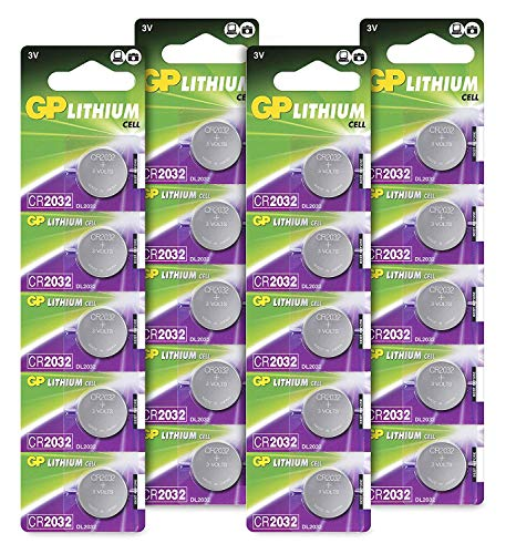 GP Batteries CR2032 3V - Pack de 20 pilas CR 2032 de litio botón | Litio puro, mayor rendimiento y duración | Sin Mercurio | Pack compuesto por 4 blísters de 5 pilas CR 2032 envasadas individualmente