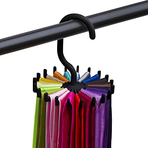 Krawattenhalter,Colorful 360°drehbare Krawattenbügel Krawatten Schlips Gürtel Schal Ketten Halter für 20 Krawatten mit längerem Haken Kleiderschrank Organizer